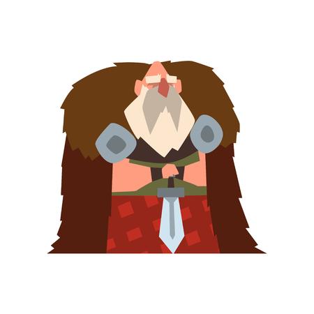 Viking warrior character in animal skin cape holding sword vector Illustration on a white background Illustration
