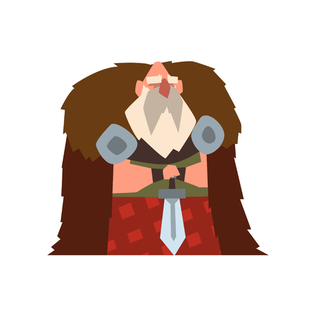 Viking warrior character in animal skin cape holding sword vector Illustration on a white background