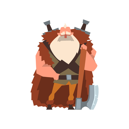 Muscular viking warrior character in animal skin cape with huge axe vector Illustration on a white background