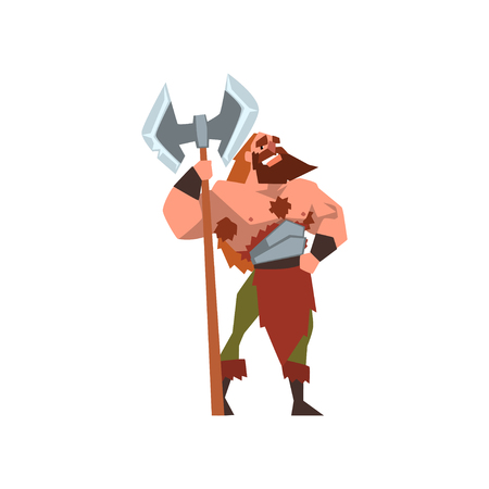 Muscular viking warrior character with huge double edged axe vector Illustration on a white background  イラスト・ベクター素材