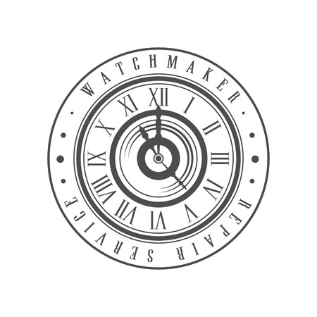 Watchmaker repair service monochrome vintage emblem vector Illustration on a white background 向量圖像