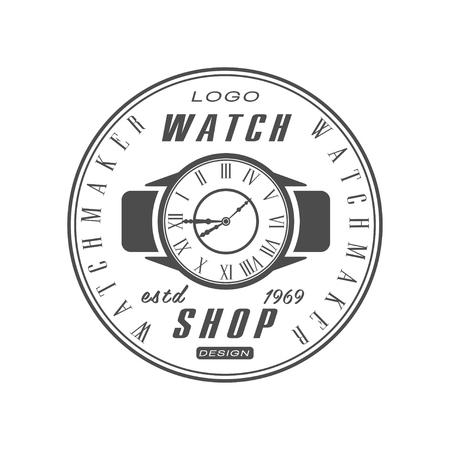 Watch shop estd 1969 design, watchmaker badge, monochrome vintage clock repair service emblem vector Illustration on a white background