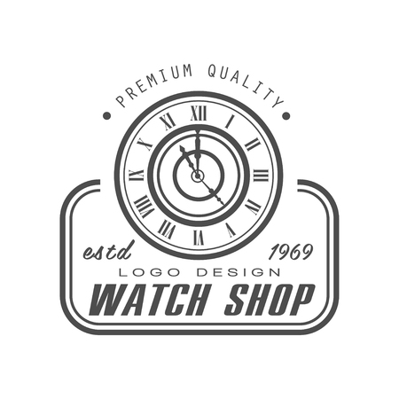 Watch shop design, premium quality estd 1969, black and white vintage clock repair service or store emblem vector Illustration on a white background