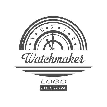 Diseño de relojero, vector de emblema de servicio de reparación de reloj vintage monocromo ilustración sobre un fondo blanco
