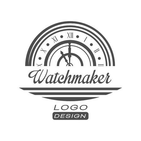 Watchmaker design, monochrome vintage clock repair service emblem vector Illustration on a white background Ilustração