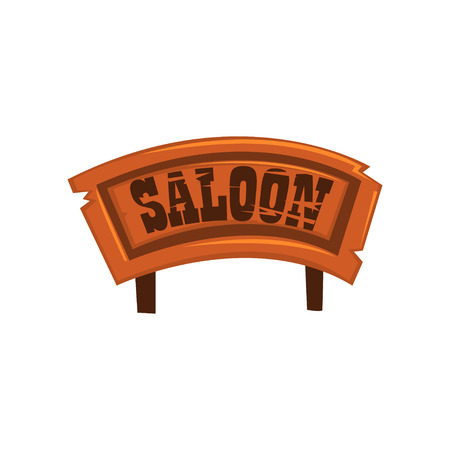 Wooden western signboard with text Saloon vector Illustration on a white background