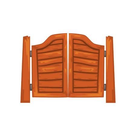 Oude westerse swingende saloon deuren vector illustratie op een witte achtergrond