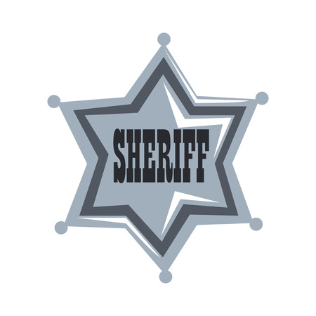 Silver sheriff star badge vector Illustration on a white background Vettoriali