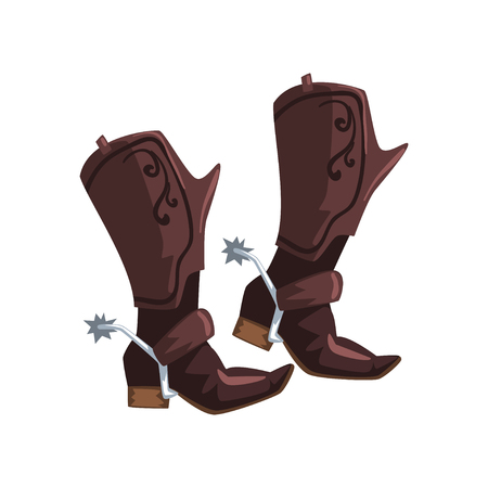Pair of cowboy leather boots vector Illustration on a white background
