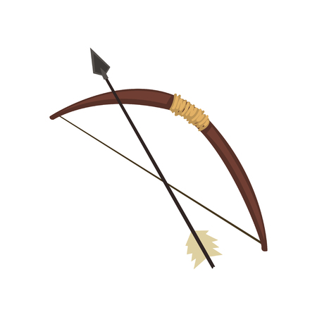 Old bow and arrow vector Illustration on a white background