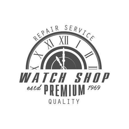Watch shop design, premium quality estd 1969, monochrome vintage clock repair service or store emblem vector Illustration on a white background 版權商用圖片 - 101440251