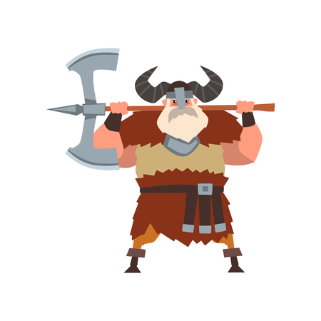 Strong viking warrior character with double edged axe in helmet with horns vector Illustration on a white background