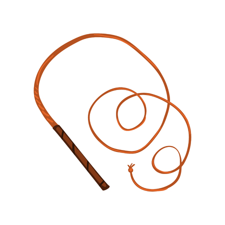 Traditional leather whip vector Illustration on a white background