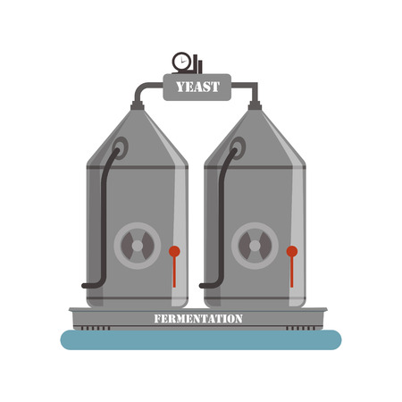 Fermentation equipment, winery production process vector Illustration on a white background