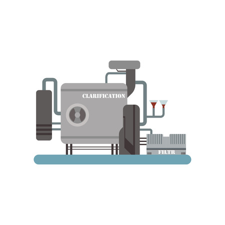 Clarification process, winery production equipment vector Illustration on a white background