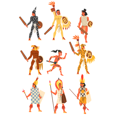 Armed tribal male warriors set, tribe members in traditional clothing vector Illustrations on a white background