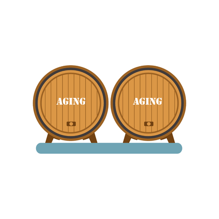 Wooden barrels, aging of wine process, winery production equipment vector Illustration on a white background