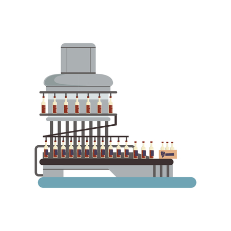 Pouring wine in glass bottles, conveyor automatic line, winery production equipment vector Illustration isolated on a white background.