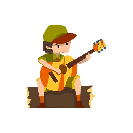 Jongen gitaarspelen zittend op het logboek, boy scout karakter in uniform vector illustratie op een witte achtergrond