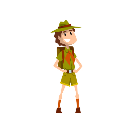 Smiling boy scout character in uniform standing with backpack vector Illustration on a white background Vector Illustratie