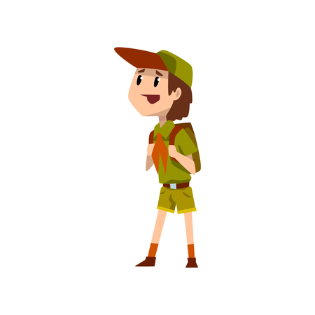 Boy scout character in uniform standing with backpack vector Illustration on a white background Illustration