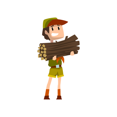 Boy carrying a bundle of firewood, boy scout character in uniform, outdoor adventures and survival activity in camping vector Illustration on a white background