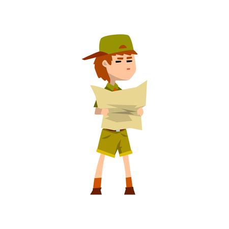 Pfadfindercharakter in der Uniform, die touristische Karte, Abenteuer im Freien und Überlebensaktivität in der Campingvektorillustration auf einem weißen Hintergrund hält