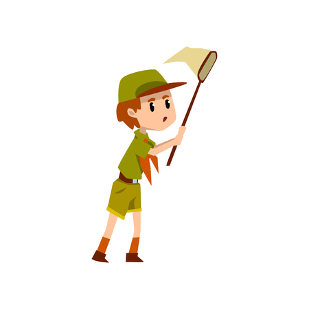 Boy scout character in uniform catching butterflies with net, outdoor adventures and survival activity in camping vector Illustration on a white background Vector Illustratie