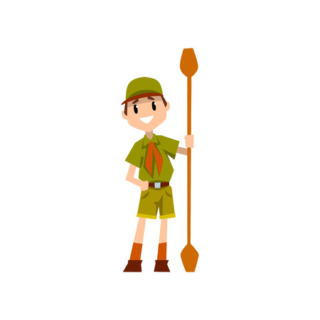Boy scout character in uniform holding paddle, outdoor adventures and survival activity in camping vector Illustration on a white background