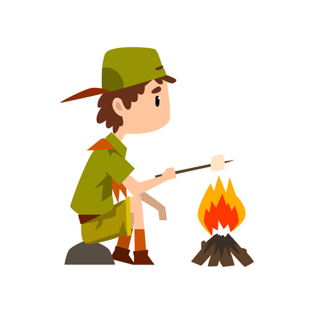 Boy scout character in uniform frying marshmallow on bonfire, outdoor adventures and survival activity in camping vector Illustration on a white background Illustration