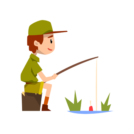 Boy scout character in uniform fishing, outdoor adventures and survival activity in camping vector Illustration isolated on a white background