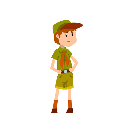 Boy scout character in green uniform vector Illustration on a white background Illustration