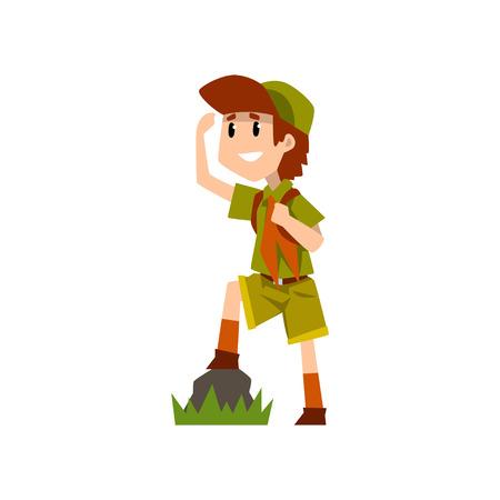 Boy scout karakter in uniform iets van een afstand, outdoor avonturen en survival activiteit in camping observeren vector illustratie op een witte achtergrond