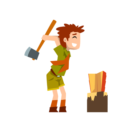 Boy scout character in uniform chopping the wood, outdoor adventures and survival activity in camping vector Illustration on a white background