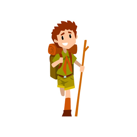 Injured boy scout character in uniform with broken leg and wooden stick, outdoor adventures and survival activity in camping vector Illustration on a white background Illustration