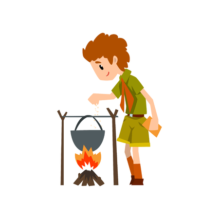 Boy scout character in uniform cooking food in the cauldron over a bonfire, outdoor adventures and survival activity in camping vector Illustration on a white background