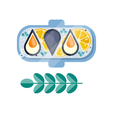 Mussels with lemon slices and herb with green leaves. Delicious seafood dish on plate. Flat vector design with texture