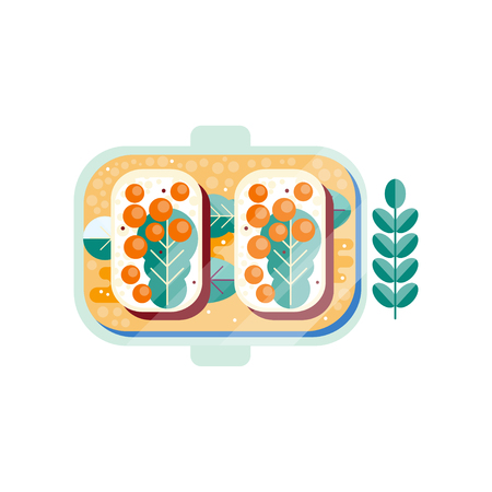 White bread with butter, red caviar and green leaf. Delicious sandwiches on plate. Seafood theme. Abstract flat vector design with texture