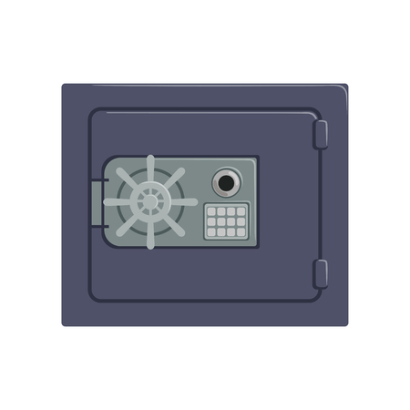 Safe metal box with a mechanical combination lock, safety business box cash secure protection concept vector Illustration