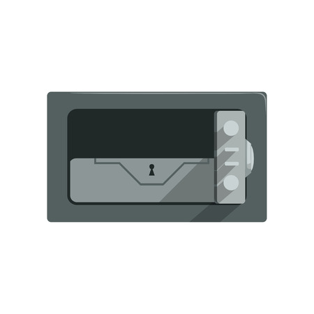 Safe steel closed box, safety business box cash secure protection concept vector Illustration