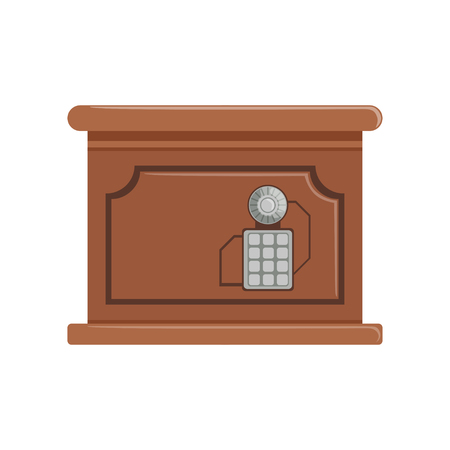 Retro brown safe box with a keypad buttons panel, safety box, cash secure protection concept vector Illustration