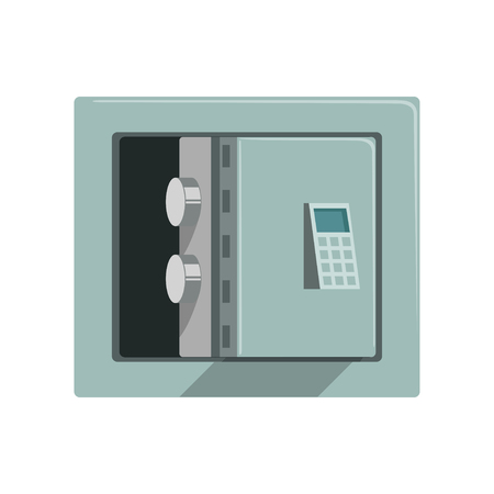 Grey metal armored opened safe box, safety business box cash secure protection concept vector Illustration