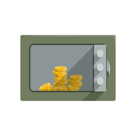 Safe box with golden coins, safety business box cash secure protection concept vector Illustration