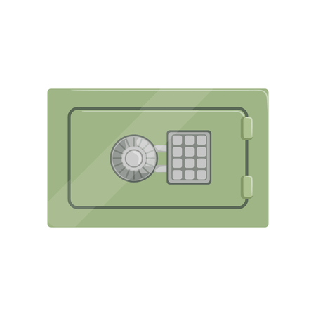 Safe steel box with a keypad buttons panel, safety business box cash secure protection concept vector Illustration