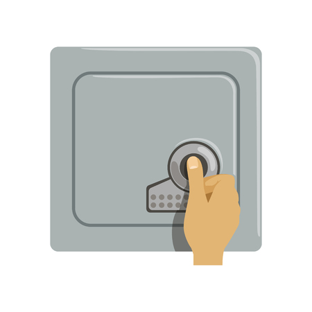 Safe metal armored box, hand opening electronic combination lock, safety business box cash secure protection concept vector Illustration