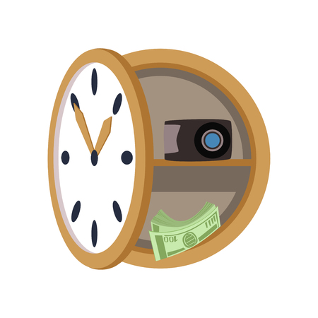 Secret safe in the form of a wall clock, safety business box, values secure protection concept vector Illustration