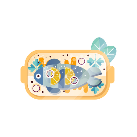 Sea fish with sauce, fresh lemon, parsley and onion rings on plate. Delicious meal from seafood. Abstract flat vector design with texture Standard-Bild - 101575076
