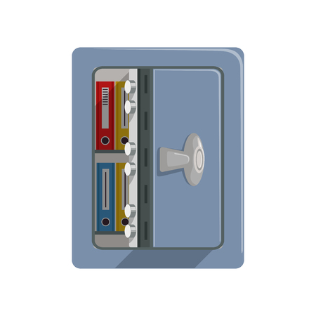 Opened metal armored safe box, safety business box cash secure protection concept vector Illustration 向量圖像