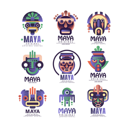 Conjunto de diseño original maya, emblemas con máscara étnica, signos aztecas vector ilustraciones sobre un fondo blanco Ilustración de vector