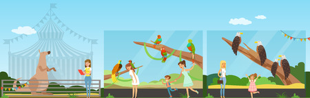 People visiting zoo and watching animals at excursion horizontal vector Illustration in flat style